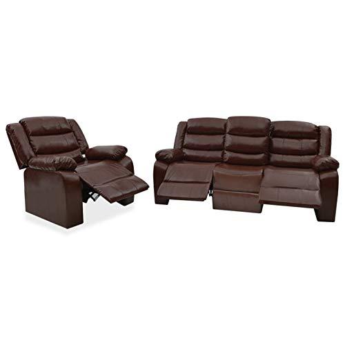 Tidyard Sofás de salón Juego de sofás reclinables 2 Piezas Cuero sintético marrón