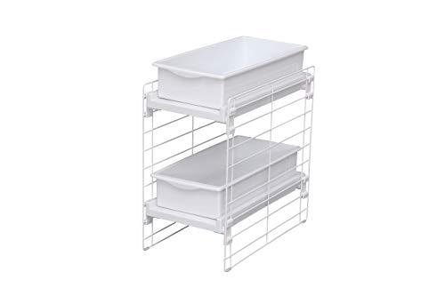 Iris Ohyama Estante con 2 cajones deslizantes para armario de cocina, Slide Tray Rack UST-2V, Acero y polipropileno, Blanco, L 22.5 x l 39.5 x A 43.5 cm
