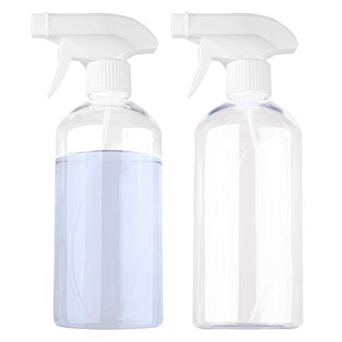 500ml Vaporisateur Vide, 2pcs Spray Vide/Flacon Pulverisateur en Plastique (Pulvérisation & Jet & OFF) Spray Rechargeable Transparent pour Plante, Fleurs, Nettoyage, Cheveux, Eau