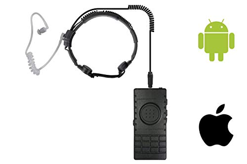 Pryme Wireless Bluetooth PTT Button Switch with Throat Mic Headset for Push-to-Talk Over Cellular PoC Applications iOS and Android ESChat Motorola Wave Zello and Zinc