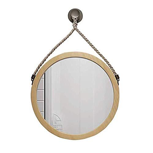 ZHTY Espejo de Pared para baño/Espejo de Maquillaje - Espejo Grande con Marco Redondo de Madera - Espejo de Pared Decorativo de Vidrio de 40 cm / 50 cm / 60 cm