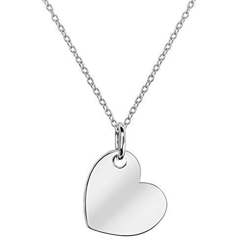 MATERIA Damen Herzkette Silber 925 mit Gravur Love Echtsilber Herzanhänger klein nickelfrei mit Etui KA-445