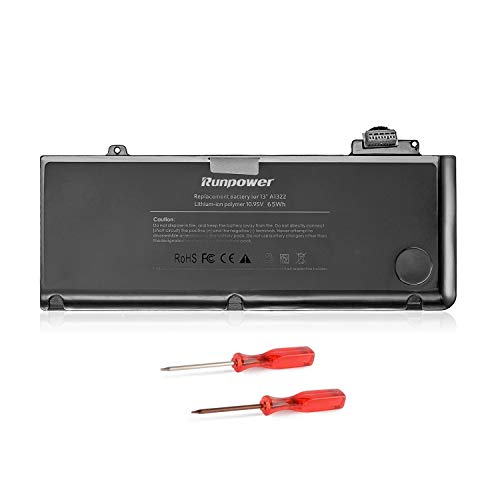 Runpower Replacement Battery for 13 inch MacBook Pro A1278 (Mid 2009 Mid 2010 Early 2011 Late 2011 Mid 2012) A1322[65Wh/6000mAh]