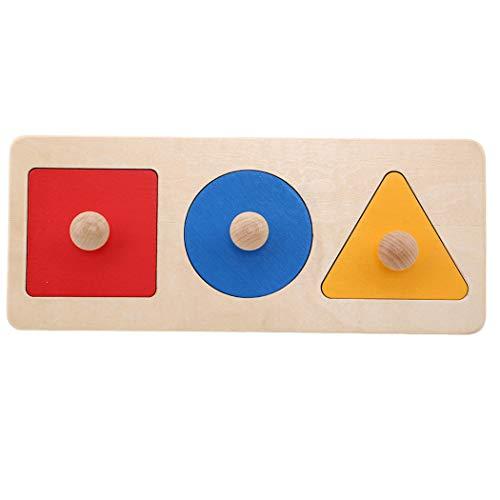 Eleusine Enfants en Bois Montessori Jouet bébé Apprentissage Forme géométrique Panneaux Main Saisir Jouet Conseil (Style 3)