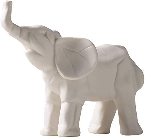 IUYJVR Estatuas y Figuras de Elefante de cerámica, decoración para el hogar, esculturas de Animales, Adornos de Escritorio para el hogar y la Oficina, Color Blanco