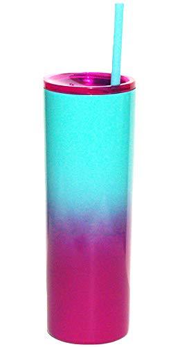 Pink Lid Collection - Skinny Isolierter Wasserbecher, lila, rosa, petrol Ombre getauchte Tasse aus Edelstahl, wärmeisolierend, aus Edelstahl, mit Meerschaum-Strohhalm, dünn, hoch, spülmaschinenfest