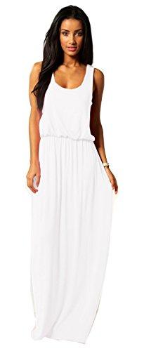 Mikos Damen-Kleid, Bodenlanges Maxikleid, ideal für Sommer und Urlaub, Boho-Style S M L 36 38 40 (369) (Weiß, S/M)