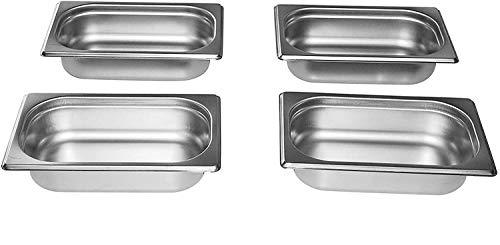 Gastro-Bedarf-Gutheil 4 x Gastronormbehälter GN Behälter 1/4 65 mm tief stapelbar Edelstahl incl. Steg geeignet für Chafing Dish, Bain Marie, Dampfgarer, Saladette