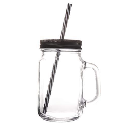 BESTONZON - Barattoli con cannuccia e coperchio in vetro con manico, 500 ml, Vetro, Nero , 7 x 7 x 13.5 cm