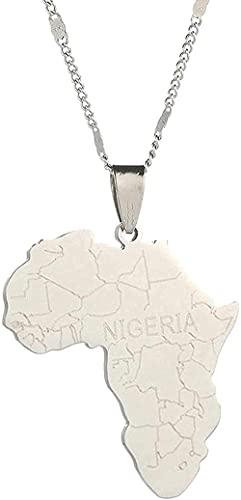 Collar Femenino Hombre Colgante Mapa África Acero Inoxidable con Nigeria Collares Pendientes Tarjetas africanas Cadena Joyería Collar Regalo para Hombres Mujeres Niñas Niños