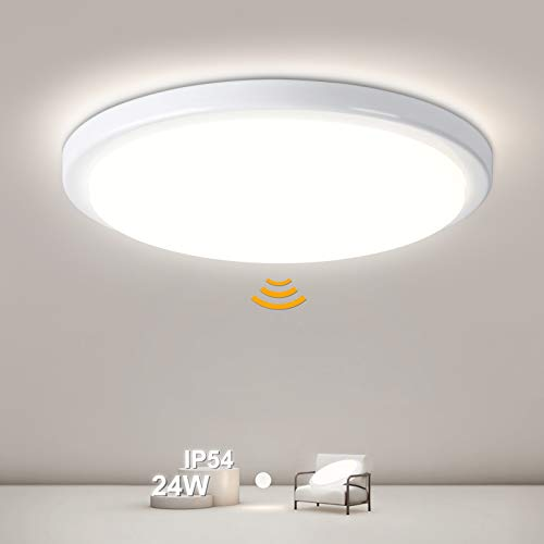 Plafón LED con detector de movimiento 24W, 2400LM Plafón LED con detector de movimiento, IP54 Plafón de baño impermeable para baño Pasillo Sótano Balcón Garaje, 4000K Blanco neutro