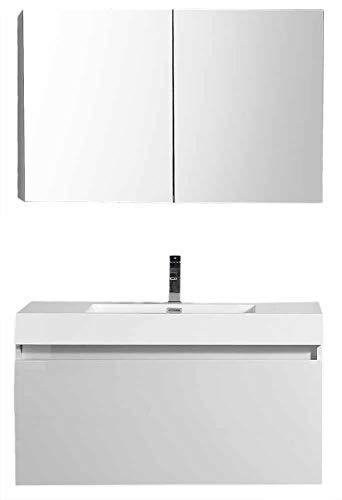 Badkamerset A-1000 BASIC, badkamermeubel, wastafel en kastje voor onder de wastafel, wit