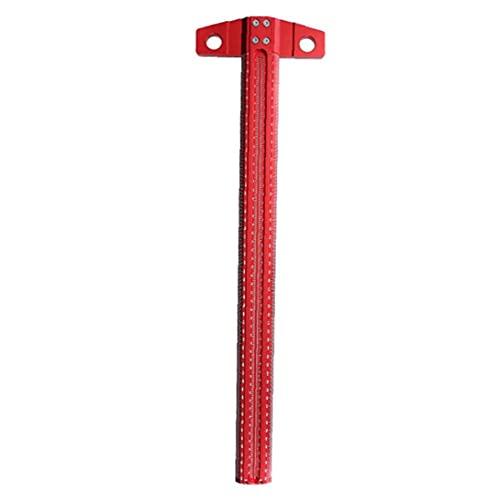 Odoukey T Regla T Tipo Plaza Regla de ángulo Recto Scribe Aluminio gramil 90 Grados T Scriber de 500mm Carpinteros Rojo