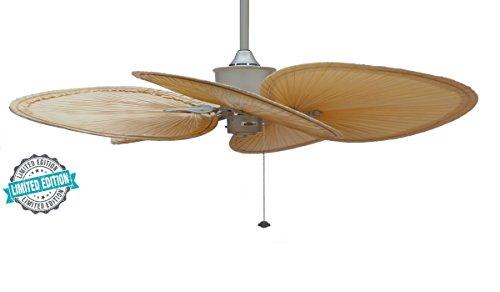 CASA Bruno Ventilador de Techo Islander 'Sevilla' - edición Limitada, Ø 132 cms, níquel Satinado, con aspas de Palmera