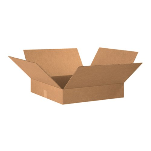 Aviditi 20204 Flat Corrugated Cardboard Box 20' L x 20' W x 4' H, Kraft, for Shipping, Packing and Moving (Pack of 10)