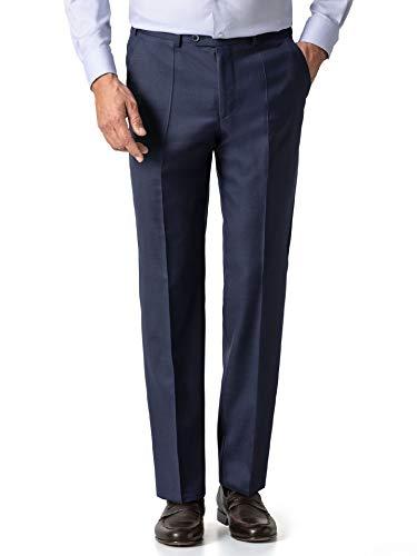 Walbusch Herren Biella Anzug Hose Pinpoint Gemustert dunkelblau 54