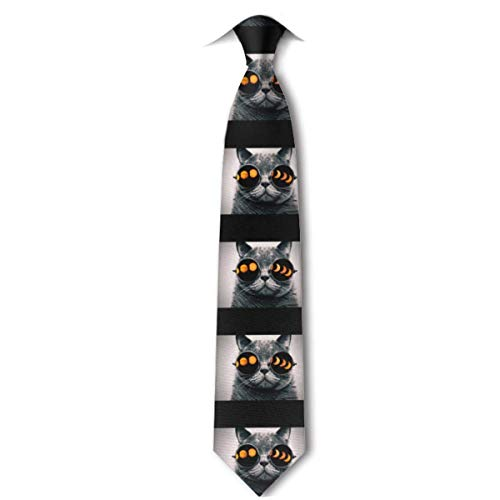 LREFON Gafas de gato Total Solar Ecli-pse Corbata para hombre Corbata ajustada y estrecha Corbata