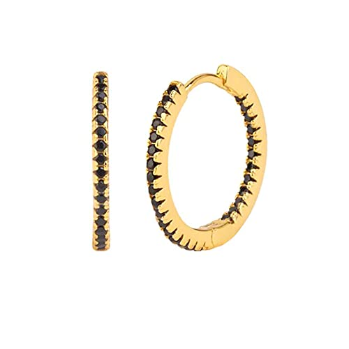 YFZCLYZAXET Earrings Women Studs S925 Silver Tide Circle Temperament Female Earrings Earrings Multicolor Inlaid Zircon Elegant Earring Jewelry-Black