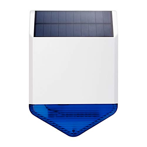KERUI SJ1 Sirenas Solares Inalámbricas del Sistema de Alarma gsm/PSTN para el Hogar con Luz Intermitente Azul, Sirena de Alarma Impermeable al Aire Libre 110dB para Casa, Hotel, Oficina de Negocios