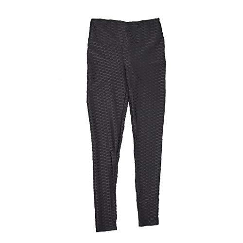 Frauen Mit Hohen Taille Yoga Pants Strukturierte Workout Ruched Sport Hosen Mit Bauch-Steuer Stretch Workout Gamaschen-Strumpfhosen Schwarz XL 1pc