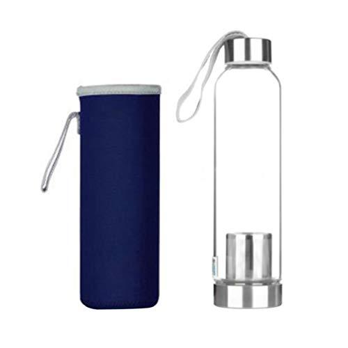 UPKOCH Glaswasserflasche Borosilikatglas Trinkflasche mit Teefilterhülle für Kombucha Saft Tee Heimreise im Freien 550Ml (Blau)