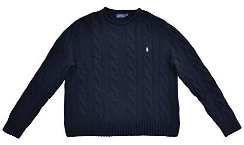 Ralph Lauren Damen Pullover Zopfmuster Wolle Kaschmir Schwarz Größe XL