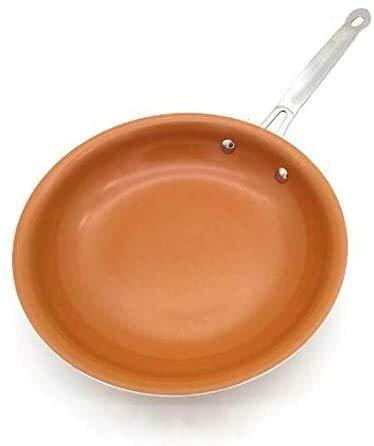 IUYJVR Sartenes y sartenes de Cobre antiadherentes con Revestimiento de cerámica Inducción C Horno de cocción Olla de cocción Sartén Antiadherente Utensilios de Cocina de 8 Pulgadas