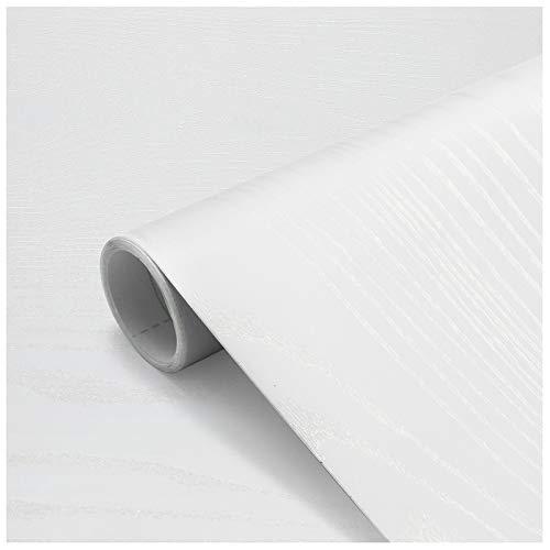 Holz Selbstklebende Klebefolie Wasserdicht 60 X 500cm Verdickt Möbelsticker PVC Dekorfolie Folie Möbelfolie Türfolie für Fensterbank,Wände,Möbel, Küche Weiß