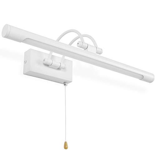 MantoLite Wandleuchte 8W,Metall Badezimmer Spiegel-Leuchte,LED-Bilderleuchte mit schwenkbarem Lampenkopf und Zugschalter,Arc Arm 560LM IP44 Warmweiß Lampe Nachttisch Leseleuchte(Weiß, 40CM)