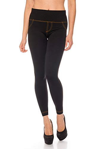 Kendindza Damen Thermo-Leggings Jeans-Look gefüttert mit Innen-Fleece Basic Blickdicht, Schwarz, Large / X-Large