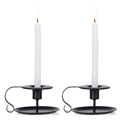 126768 2 PCS Retro Hierro Simple Black ChamberStick Candelabros Titulares de velas Taper,se ajusta a Caper y Candelabros Estándar,Soporte de la luz de las velas for Halloween Navidad Decoración Decora