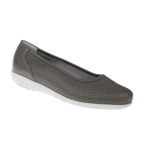 Natural Feet Damen Ballerina Annabelle | Echtes Hirschleder | Weite H | Hallux geeignet 38 grau