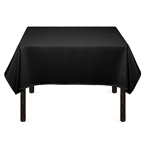 Mill & Thread - 54' Square Premium Tablecloth for Wedding / Banquet / Restaurant - Polyester Fabric Table Cloth - Black