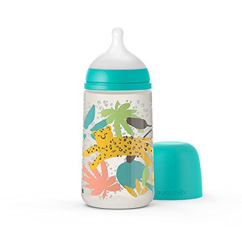 Suavinex Nuevo Biberón 270 ml con Tetina Fisiológica SX Pro Flujo Medio, Para Bebés +0 Meses, Verde