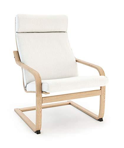 Vinylla Ikea Poäng - Funda de repuesto para sillón (cojín 3, algodón), color blanco