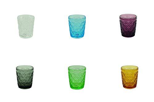 Villa d'Este Home Tivoli 5905223 Marrakech - Juego de 6 vasos de agua multicolor, cristal