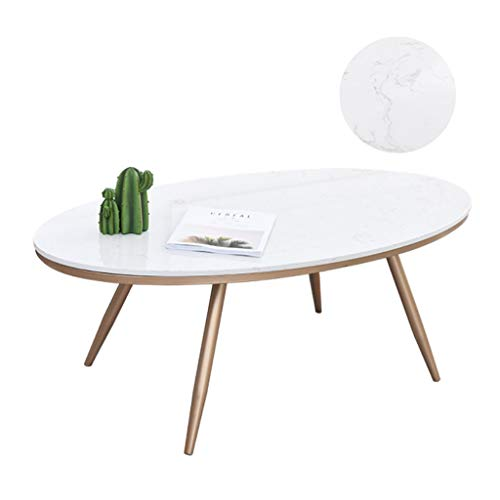 KUKU-mesa de café Mesa de Centro Ovalada de Hierro Forjado Creativo, Mesa de Muebles de mármol Natural Blanco Minimalista Moderno, apartamento pequeño en la Sala de Estar