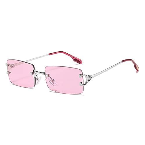 HAIGAFEW Gafas De Sol para Mujer Pequeñas Gafas Rectangulares para Mujer Gafas De Sol Cuadradas Sin Montura Accesorios para Mujer Gafas con Lentes De Caramelo Proteger Los Ojos-Rosa
