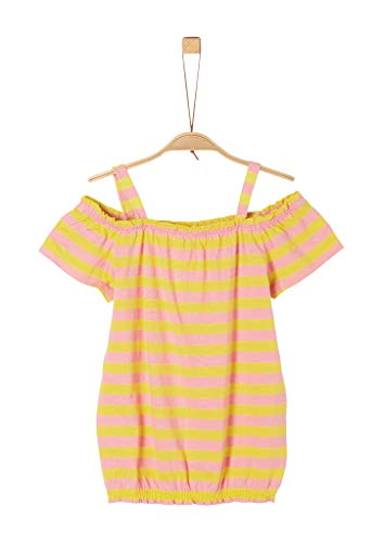s.Oliver Mädchen O-Shape-Shirt mit Carmenausschnitt yellow stripes XL.REG