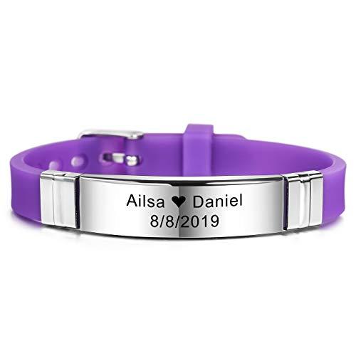 MeMeDIY Personalized Bracelet Engraving Names Silicone Sport Wrist Identification ID Tag Bracelet Customized for Men Women Kids Stainless Steel Rubber Adjustable - (13mm Wide, Purple Color)