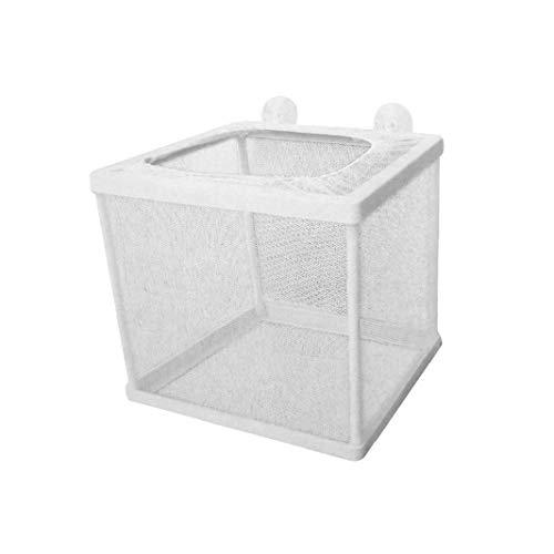 iHOMIKI Kunststoffrahmen Net Fry Hatchery Mesh-Fish Fry Hatchery Züchter Box Trennnetz für Aquarium mit 4 Saugnäpfen Weiß