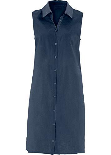 bonprix Stilvoll Bedruckte, ärmellose Longbluse mit Seitenschlitzen dunkelblau 48 für Damen