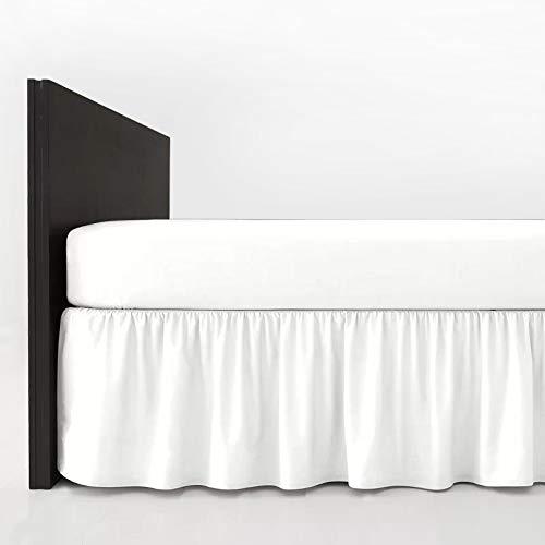 Mfabrics Bettvolant aus Baumwollmischgewebe, einfarbig, pflegeleicht, maschinenwaschbar, erhältlich in 20 Farben, 40 cm Rüschen, Baumwollmischung, weiß, Doppelbett