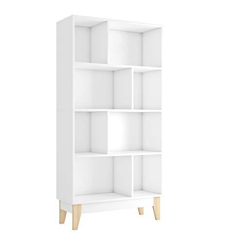 Homfa Estantería Libreria Estantería para Libros Estanterias de Madera para Dormitorio Salón Oficina con 8 Cubos Blanco 147.5x75x29.5cm