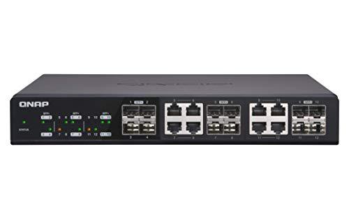 QNAP (キューナップ) 4つの10GbE SFP +ポートと8つの10GbESFP + / RJ45コンボポートを備えた スイッチ QSW-...