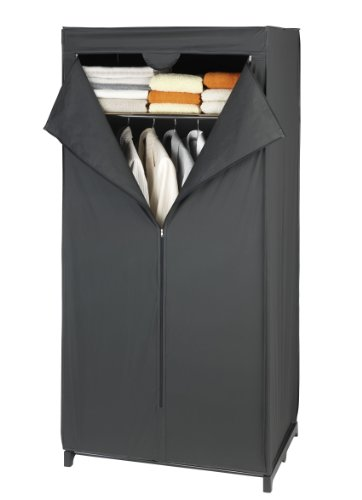 WENKO Kleiderschrank Deep Black mit Ablage, Polyethylen-Vinylacetat, 75 x 160 x 50 cm, Schwarz