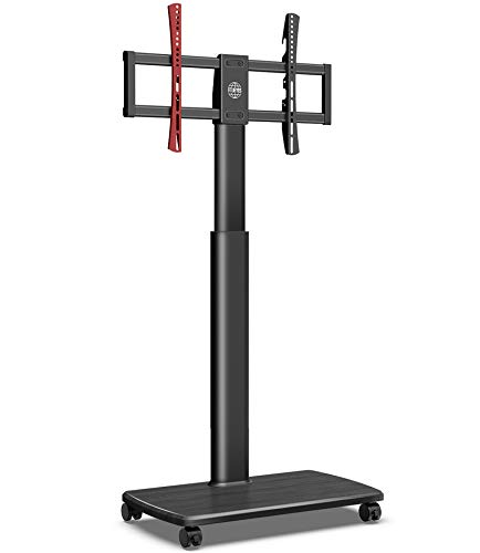 FITUEYES TV Bodenständer Rollbar mit Holzablage TV Standfuß TV Ständer Fernsehstand mit Rollen höhenverstellbar schwenkbar für 32 bis 65 Zoll Flachbildschirm bis zu 40kg. Max. VESA. 400*600