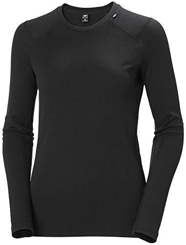 Helly Hansen W Lifa Merino Midweight Crew Camiseta Manga Larga, Mujer, Black, L