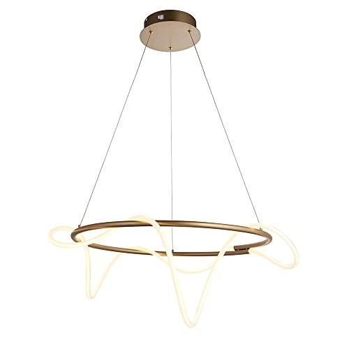 Endon Attalea Diseño moderno estilo anillo LED colgante ligero tubo de silcon flexible acabado en oro satinado