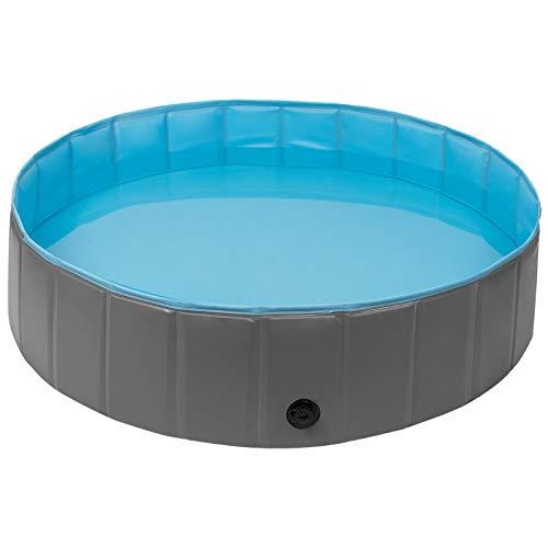 EUGAD 0008GYYC Hundepool Ø120cm Hunde Swimmingpool Planschbecken Haustier Schwimmbad Badewanne Für Hunde Katzen Faltbares Doggy Pool Katzenpool Grau/Blau 120x30cm